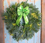 Fresh Wreath with Chartreuse Glitter Bow